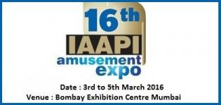 16th IAAPI Amusement Expo Mumbai at Bombay Exhibition Centre on 3rd to 5th March 2016