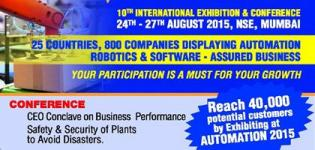 AUTOMATION 2015 in Mumbai - International Exhibition & Conference at Bombay Exhibition Centre