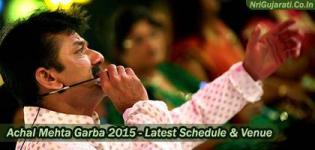Achal Mehta Garba 2015 - Gujarati Raas Garba Navratri Event Schedule 2015 of Singer Achal Mehta