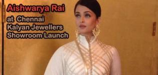 Aishwarya Rai Bachchan in Ivory Golden Anarkali Dress for Kalyan Jewellers Chennai Showroom Launch