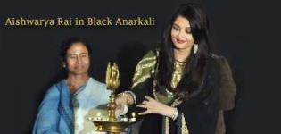 Aishwarya Rai in Black Anarkali Dress with Golden Colour Designer Work Photos 2014