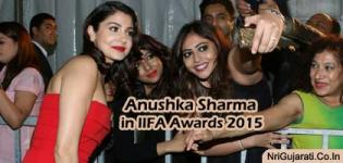 Bollywood Actress Anushka Sharma in Red Gown Pics at IIFA Awards 2015 Green Carpet