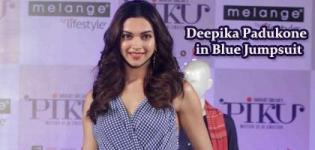 Bollywood Actress Deepika Padukone in Blue Jumpsuit - PIKU Movie Promotion Pics 2015