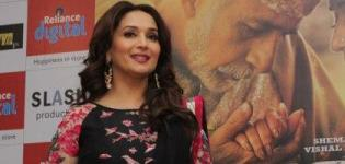 Bollywood Actress Madhuri Dixit at Ahmedabad in Black Anarkali Suits for Movie Promotion