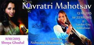 Bollywood Singer Shreya Ghoshal and Aishwarya Majmudar in Navratri Event 2015 at Ankleshwar Gujarat