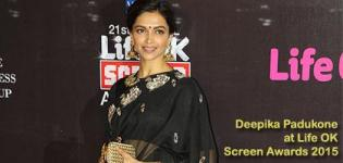 Deepika Padukone at Life Ok Screen Awards 2015 Photos in Black Saree and Round Neck Blouse