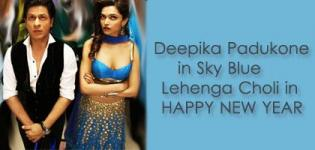 Deepika Padukone Sky Blue Lehenga Choli in Happy New Year Movie - Latest New Look Photos