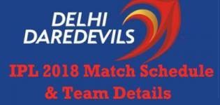 Delhi Daredevils (DD) Team Players Name - IPL 2018 Cricket Match Schedule and Venue Details