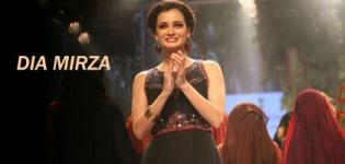 Dia Mirza in Traditional Gujarati Crafted Embroidered Work Black One Piece Evening Gown Dress