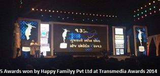 Five Awards Won by Gujarati Film Happy Familyy Pvt Ltd at Transmedia Awards 2014