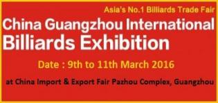 GBE 2016 - 10th China Guangzhou International Billiards Exhibition on 9 to 11 March 2016