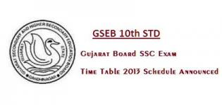 GSEB 10th STD - Gujarat Board SSC Exam Time Table 2013 Schedule Announced
