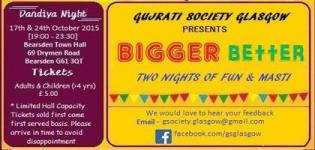 Gujarati Social Glasgow Presents Dandiya Night Navratri 2015 at Bearsden Town Hall