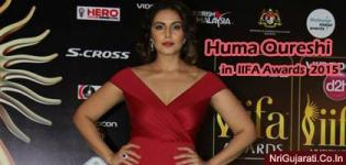 Huma Qureshi at IIFA Awards 2015 Images in Maroon Colour Front Deep V Neck Sleeveless Gown