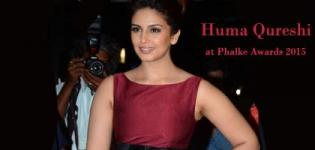 Huma Qureshi at The Dada Saheb Phalke Awards 2015 in Maroon Sleeveless One Piece Dress Pics