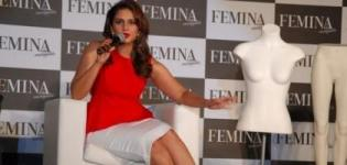 Huma Qureshi Unveils Latest Femina Magazine Issue 2014 in Red Top and White Shorts