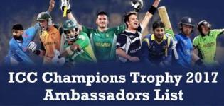 ICC Champions Trophy 2017 Ambassador List
