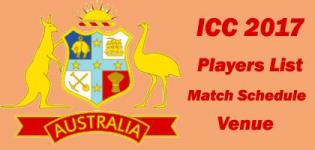 ICC Champions Trophy 2017 Australia Team Squad Name - Match Schedule and Venue Details