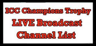 ICC Champions Trophy 2017 Broadcast Channel List - LIVE Score Details