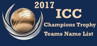 ICC Champions Trophy 2017 Teams Names List