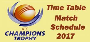 ICC Champions Trophy 2017 Time Table - Match Schedule and Dates