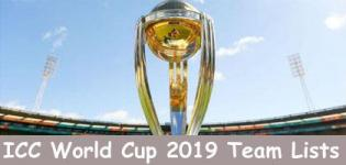 ICC Cricket World Cup 2019 Team Squad - ICC World Cup 2019 Team List