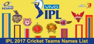 IPL 2017 Season 10 Cricket Teams Names List