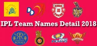 IPL 2018 Cricket Matches Teams Names Details