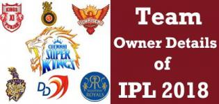 IPL 2018 Season 11 Cricket Match Team Owner Name and Details
