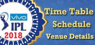 IPL 2018 Season 11 Time Table Schedule - Venue Details