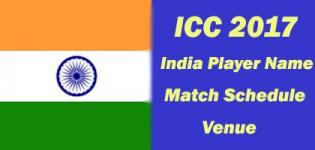 India ICC Champions Trophy 2017 Team Players Name - Match Schedule and Venue Details