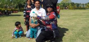 International Kite Flyer PAVAN SOLANKI from Ahmedabad Flying his Designer Kites in RAJKOT