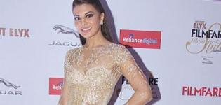 Jacqueline Fernandez in Cream Transparent Gown at Filmfare Glamour Style Awards 2015