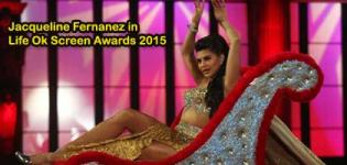 Jacqueline Fernanez in Thigh High Slits Dress during Dance Performance at Life Ok Screen Awards 2015