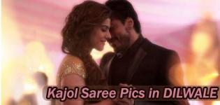 Kajol in Saree in Dilwale Movie 2015 Latest Photos - Recent Pics in Cream Coffee Yellow Pink Saree Blouse