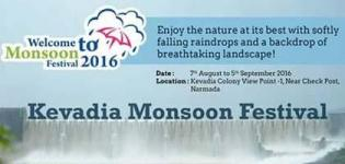 Kevadia Monsoon Festival 2016 in Narmada District Gujarat from 7th August to 5th September