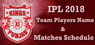 Kings XI Punjab (KXIP) Team Players Name - IPL 2018 Cricket Match Schedule and Venue Details