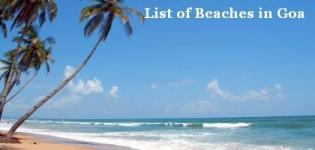 List of Beaches in Goa - All Total Sea Beaches Name in North and South Goa India