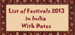 List of Festivals in India 2013 with Dates - 2013 Indian Festival Dates