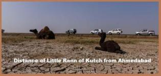 Distance of Little Rann of Kutch from Ahmedabad - Between Kutch and Ahmedabad