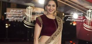 Madhuri Dixit in Shimmery Lehenga Saree with Maroon Velvet Blouse at the Marrakech Film Festival 2015
