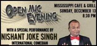Mississippi Cafe presents Ahmedabad Komedians Open Mic Evening with Nishant Joke Singh