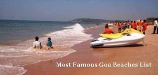 Most Famous Goa Beaches List - Best Well Known and Popular Beaches in North and South Goa India