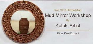 Mud Mirror by Kutchi Artist - Creative Mud Art Work Learning Workshop in Ahmedabad