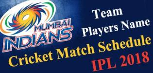 Mumbai Indians (MI) Team Players Name - IPL 2018 Cricket Match Schedule and Venue Details