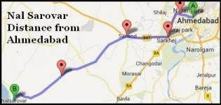 Nal Sarovar Route - Distance from Ahmedabad