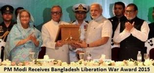 PM Modi Receives Bangladesh Liberation War Award 2015 on Behalf of Past PM Atal Bihari Vajpayee