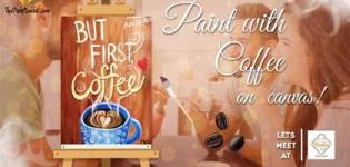 Painting with Coffee on Canvas 2018 in Surat - Paint Party at Moodies Restro Cafe