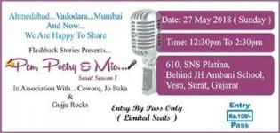 Pen, Poetry and Mic for the First Time in Surat Date and Venue Details for the Event