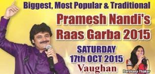Pramesh Nandi Navratri 2015 in Vaughan CANADA at Trio Sportsplex on 17th October